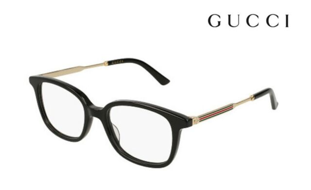 Gucci Gg0202o 001 Black Plastic Rectangle Eyeglasses 50mm | eBay