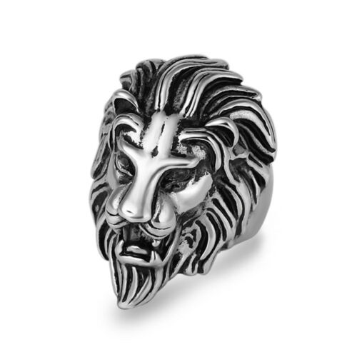 316L Stainless Steel Fashion Silver Mens Lion Head Ring Biker Jewelry Size 8-12