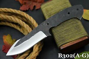 Custom Hammered Spring Steel 5160 Blank Blade Hunting Knife,No Damascus (B302-A)