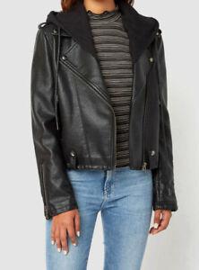 359-Blank-NYC-Women-Black-Full-Zip-Hooded-Point-Collar-Moto-Neo-Jacket-Size-XS