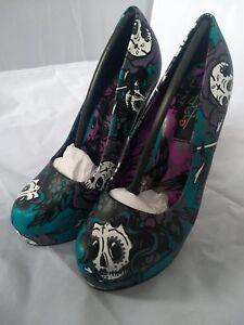 Platform High Sugar Skull Fist Punk Shoes Heel 3 Rock Tattoo Size Iron S6O0Yqww