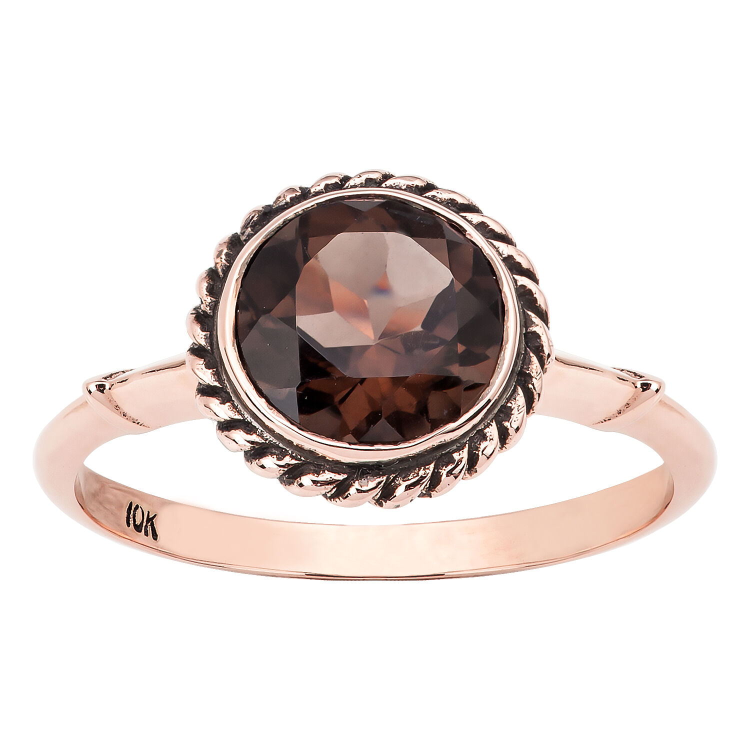 10k pink gold Vintage Style Genuine Round Smoky Quartz Ring Rope gold Trim