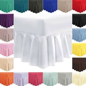 Plain-Frilled-Fitted-Valance-Sheet-Cotton-Blend-Sheets-Single-Double-Super-King