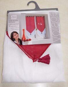 Paire-de-voilage-double-blanc-et-rouge-neuf-60x90-Douceur-d-039-Interieur