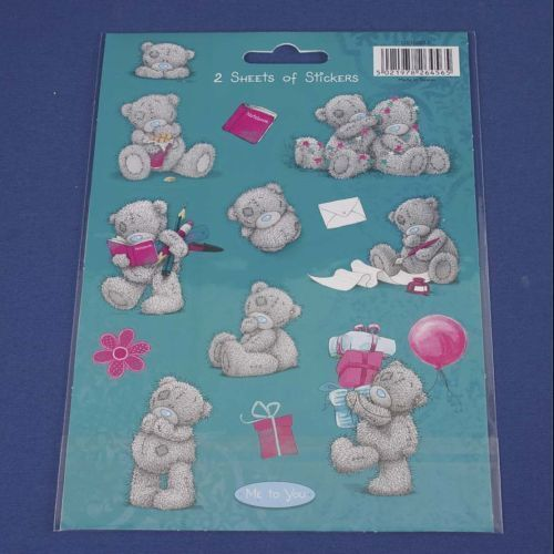 Me To You Tatty Teddy Bear Collectors-Pack of 2 Sheets of stickers Blue