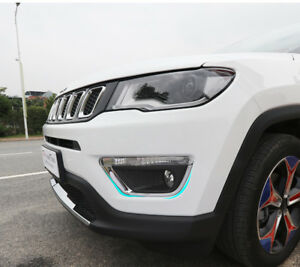 For-Jeep-Compass-2017-2018-ABS-Chrome-Front-Fog-Light-Lamp-Trim