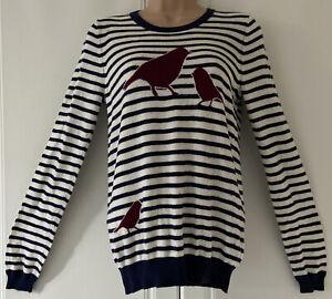 DICKINS-amp-JONES-Blue-winter-White-Wool-Mix-Striped-Bird-Design-Jumper-Size-S