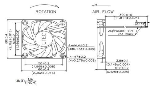 NEW Ball Bearing 60mm*25mm UTEC AT6010L-05L2B-ND1 5VDC//5V//4V Fan 2wire tinned