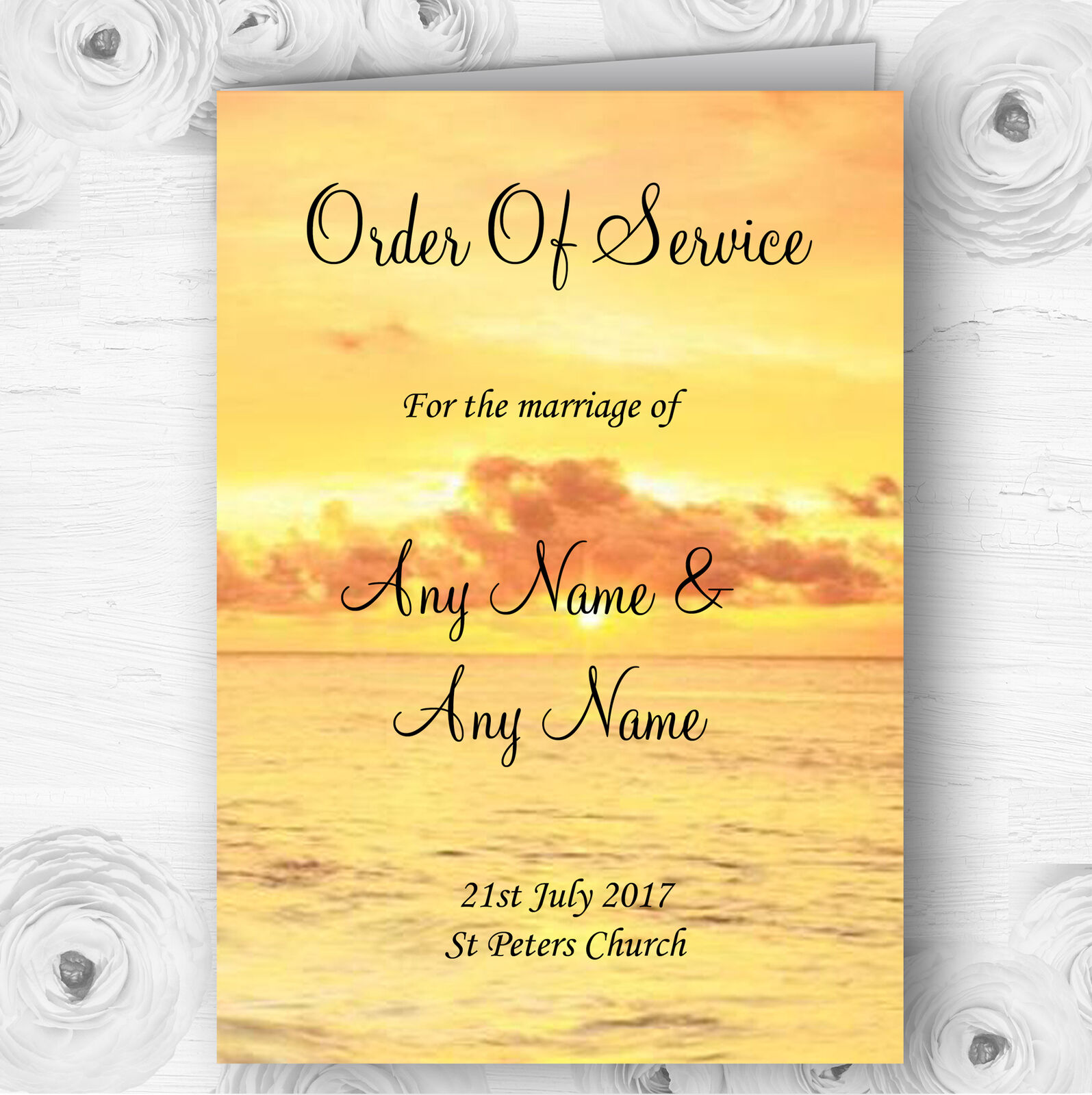 Beautiful Sunset Beach Abroad Personalised Wedding Double Cover Order Of Service