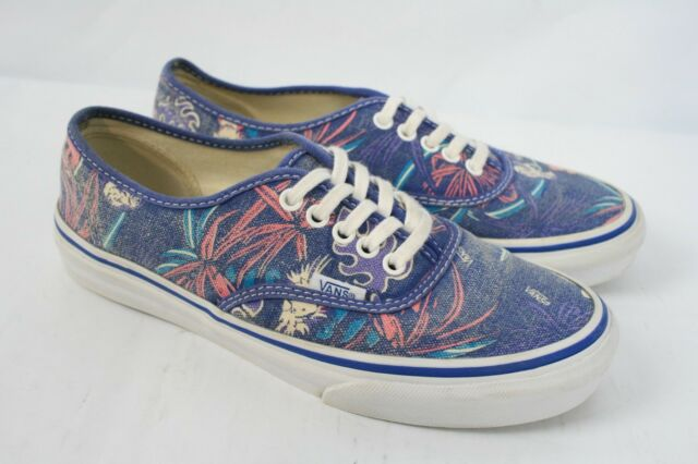 230c88fdb24b VANS Doren Blue Pink Canvas Palm Tree Beach Skate Sneaker Era Low Shoes  Women 7