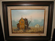 Quaint Vintage 'Old Country Church House' Oil On Canvas Painting Nice Wood Frame