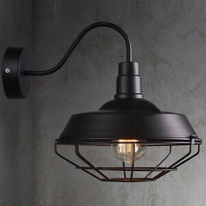 big wall sconce light lamp cage vintage iron outdoor barn gooseneck lighting ebay. Black Bedroom Furniture Sets. Home Design Ideas