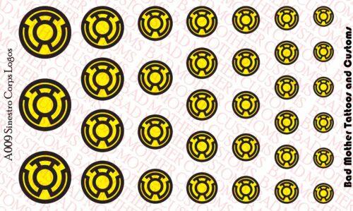 Scale Custom DC comics Sinestro Corps Logos Waterslide Decals for Action Figures