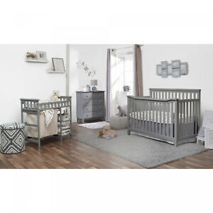 Gray Convertible Standard Crib And Changer Combo 3 Piece Nursery Furniture Set Ebay