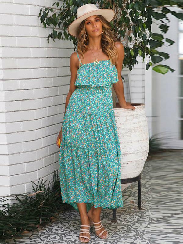 Elegante abito vestito morbido lungo boho boho boho bohemian hippie azzurro fiori 5090 4f6103
