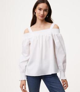 NWT Ann Taylor LOFT Off The Shoulder button down Top black blouse various sizes