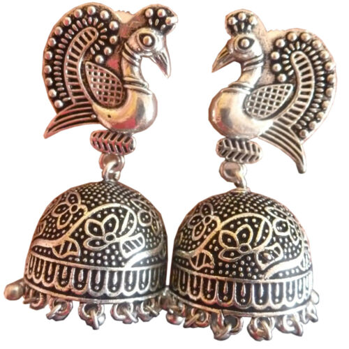 South Indian Earrings Antique Silver Plated Peacock Style Jhumka Jhumki