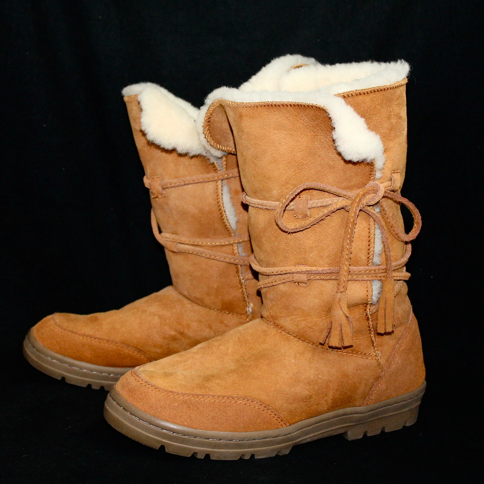 J CREW Suede & Shearling Lined Boot Wo's 9M Tan Chestnut w  Wrap Around Lace