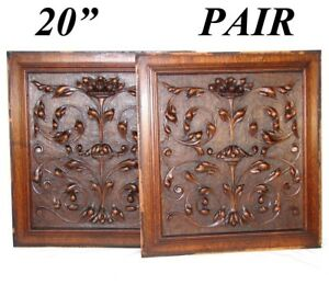 """Strict Pair Antique Victorian 21x19"""" Carved Wood Architectural Furniture Door Panels Decorative Arts"""