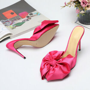 Womens-Stilettos-High-Heels-Mules-Sweet-Satin-Bow-Slippers-Prom-Party-Sandals