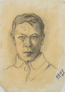BURGER-Frontales-Portraet-eines-jungen-Mannes-in-Uniform-1910-Bleistift