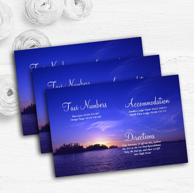 Beautiful Blau lila Sunset Beach Personalised Wedding Guest Information Cards