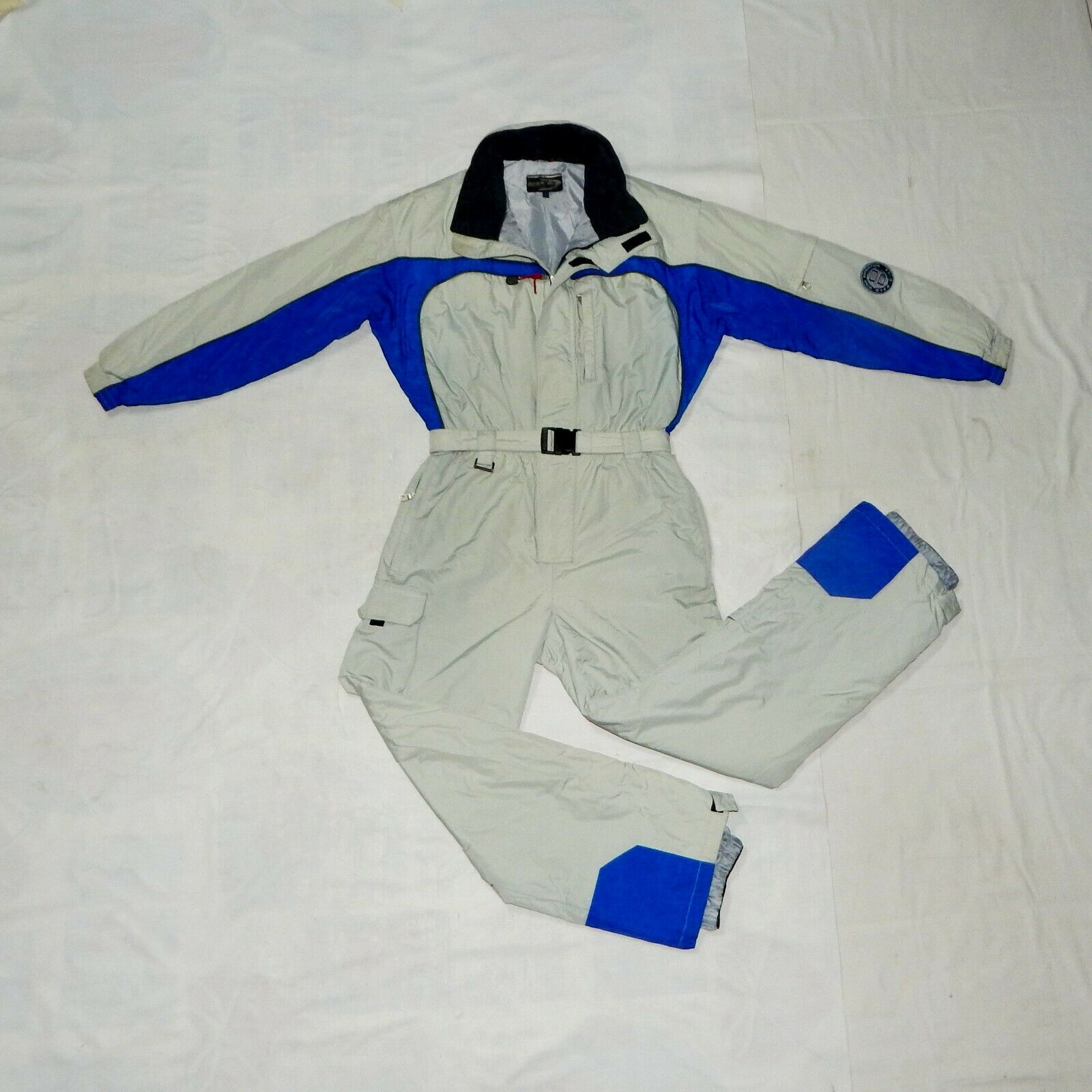 OVER DIVEI VTG 90s Mens All in One Thermal Ski Suit,S,IT44,UK34,F42,grau Blau