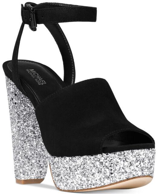Michael Kors Trina Black Suede & Silver Peep Toe Platform Sandals WOMEN'S SZ 9-M