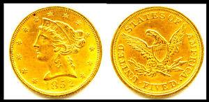1852 $5GOLD- LIBERTY HEAD