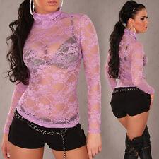 SeXy Miss Langarm Damen Spitze Shirt Rolli transparent 34/36/38 NEU Top flieder