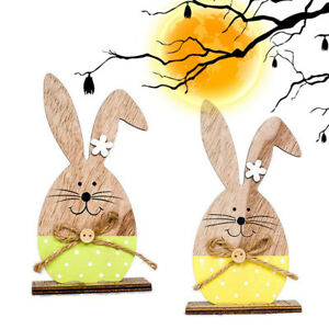 Easter Rabbit Wood Home Egg Bunny  Party Decoration Supplies Kids DIY Gift