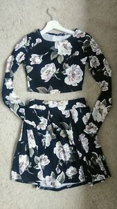Top Skirt Uk Summer Floral Boohoo Set Womens 8 Size e 6xUfwt7