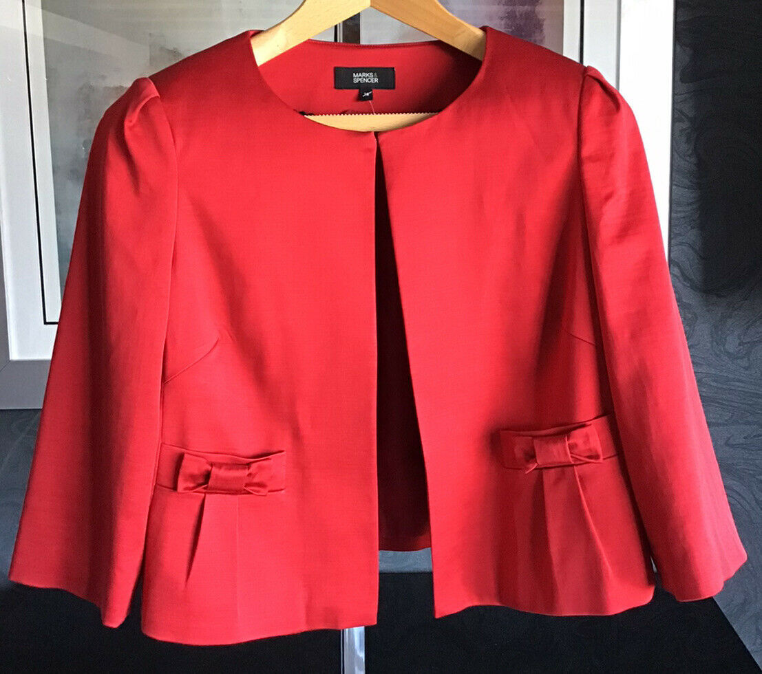 Marks & Spencer Smart / Special Occasion Chilli Red Dress Jacket New UK 18