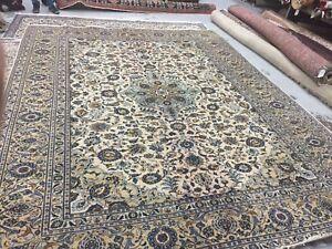 8 000 Persian Rug 10x13 Beige Cream Navy Blue Area Rug Carpet