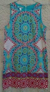 London Times Shift Dress Size 12 Bright Colorful Mandala Print Sleeveless Cotton