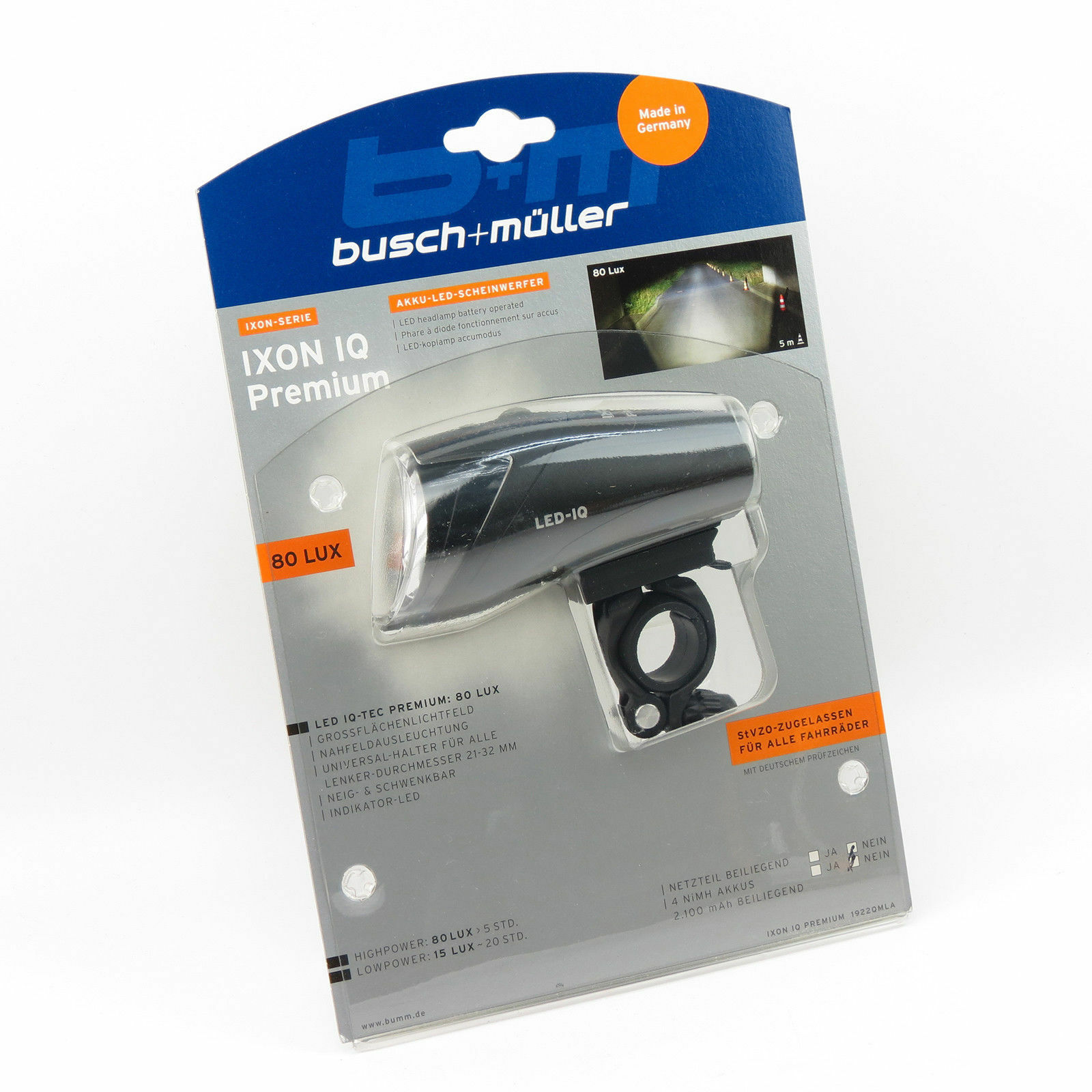 Busch & Müller Ixon IQ Premium Akku LED Scheinwerfer / Cycling Headlight Light