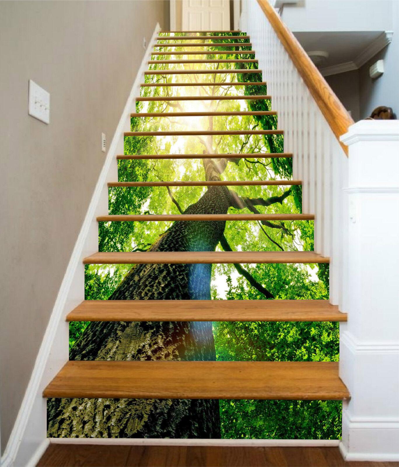 3D Grn Baum 876 Stair Risers Dekoration Fototapete Vinyl Aufkleber Tapete DE