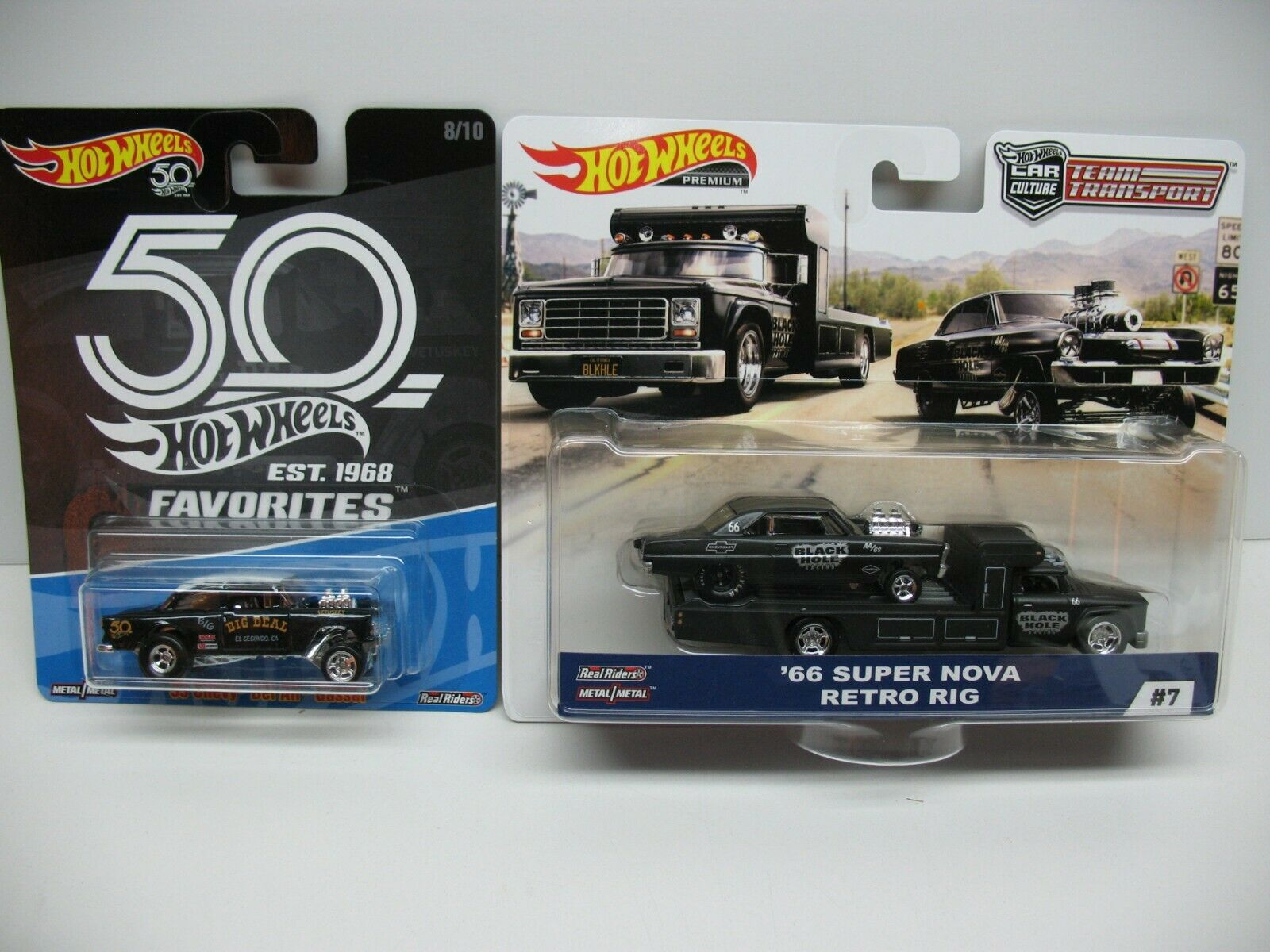 HOT WHEELS FAVORITES '55 CHEVY BEL-AIR GASSER & '66 SUPER NOVA RETRO RIG BLACK