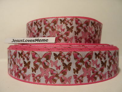 Grosgrain Ribbon, Pink Camo Butterflies with Pink Border, Butterfly Ribbon, 1""