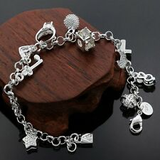 Bracelet Chain Link Charm Ladies 925 Sterling Silver Beautiful Bangle Gift Bag