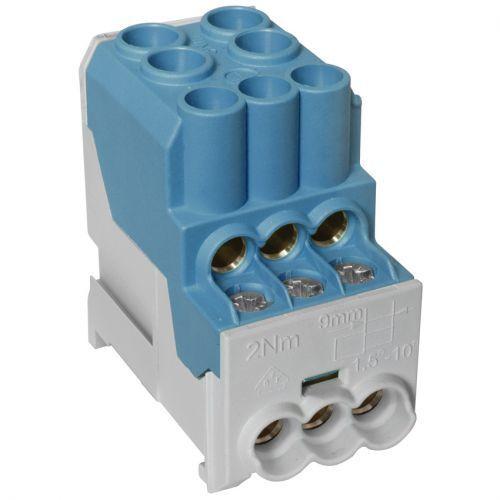 Unterverteiler Abzweigklemme, 1-polig, 2 Eingänge 25 mm² und 6 Ausgänge 6 mm² bl