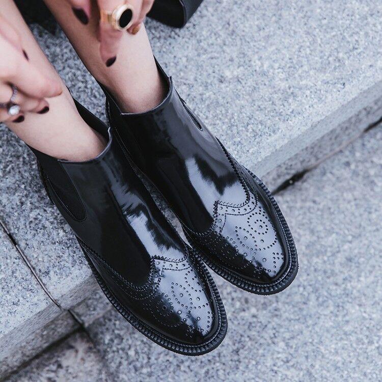 Kvinnor Retro mode Chelsea stövlar Chunky Chunky Chunky klackar Oxfords Round Toe läder skor  online shopping och modebutik