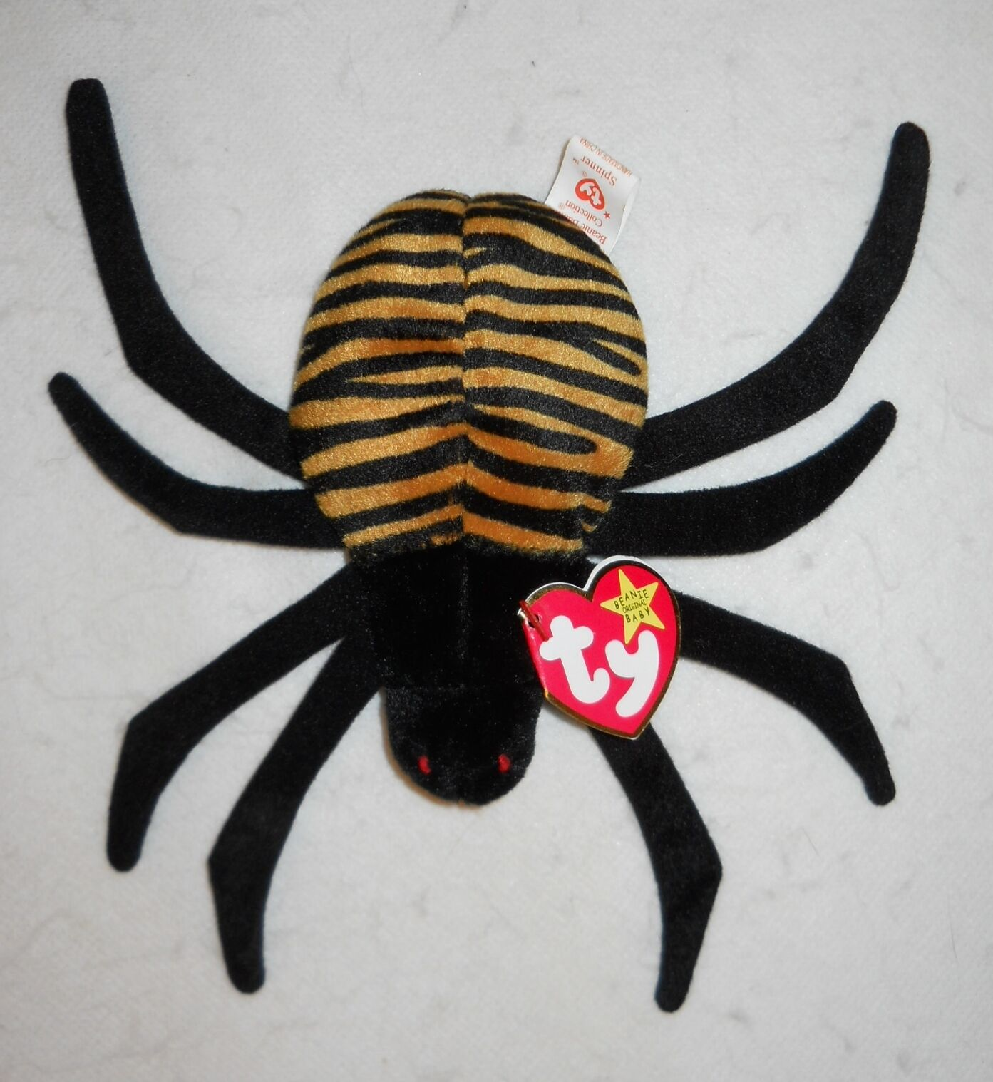 TY BEANIE BABY ORIGINAL, SPINNER THE SPIDER  1996  STYLE 4036, TAG ERRORS, NEW