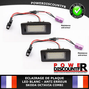 Feux-Eclairage-de-Plaque-LED-BLANC-XENON-Skoda-Octavia-Combi-Anti-erreur-canbus