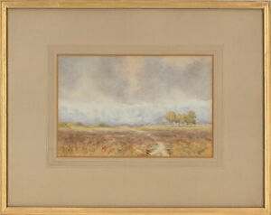 W-J-Tomlin-Signed-amp-Framed-Early-20th-Century-Watercolour-Across-the-Moor