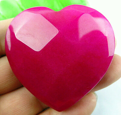 Beautiful heart carved face rose red Jade cab cabochon BC480