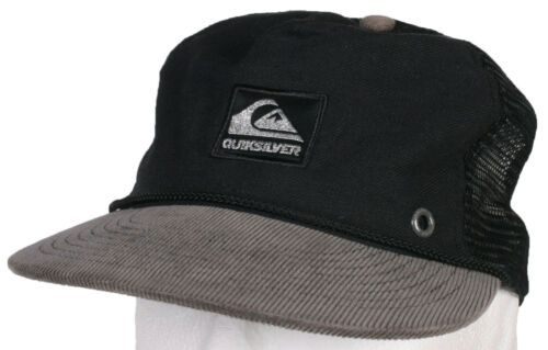 New Quiksilver QUIK Cored Black Canvas /& Grey Corduroy Mesh Snapback Surfing Hat