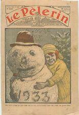 Portrait Bonhomme de Neige Snowman Girl Fille Fillette Sapin le Houx 1933