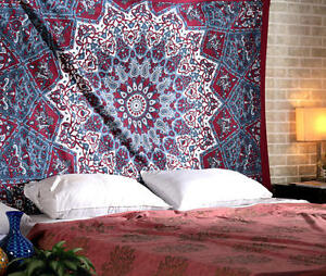 Twin Mandala Tapestry Indian Wall Hanging Bohemian Hippie Bedspread Throw Decor2