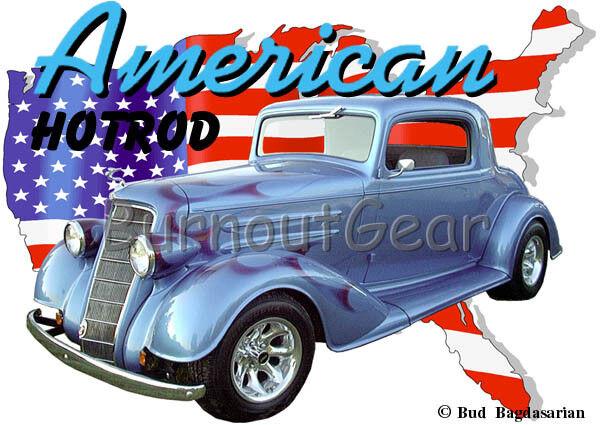 1933 Blau Oldsmobile Coupe Custom Hot Rod USA T-Shirt 33 Muscle Car Tees